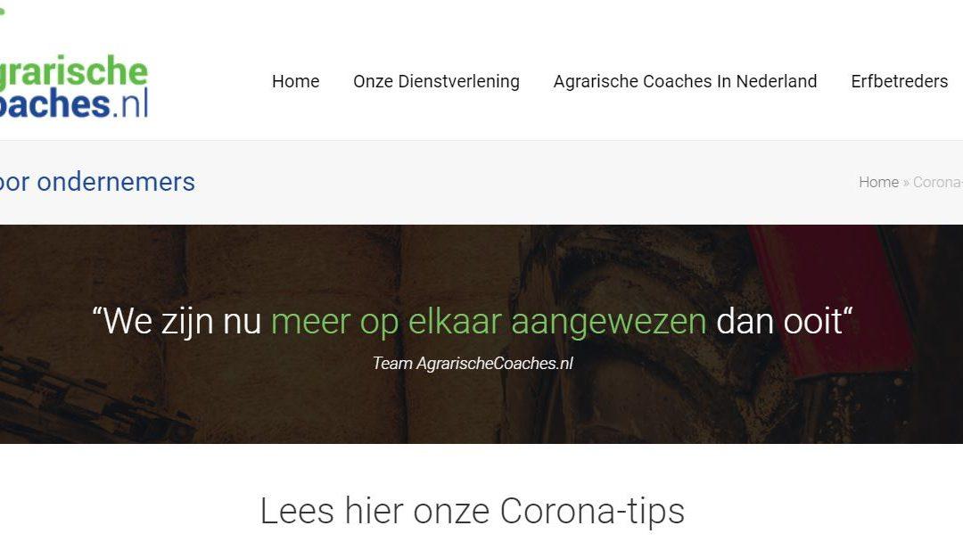 Corona-tips voor agrarisch ondernemers